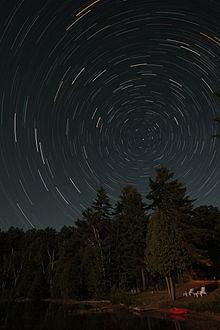 Рисунок 3.1. Наблюдаемое за ночь вращение Небесной Сферы вокруг Небесного Полюса – Полюса мира