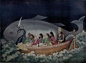 Век Дхрувы - Семь Риши и Ману спасаются от потопа, предупреждённые Матсья – рыбой, первой аватарой Вишну.