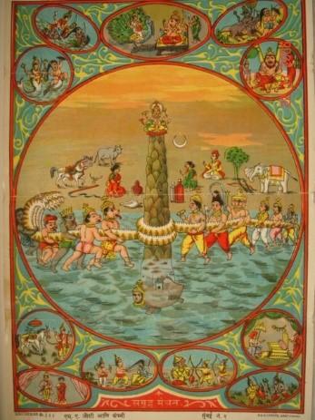 Рисунок 6.8. Литография 1910-х годов с изображением пахтанья Молочного океана и полученных при нём 14 сокровищ.