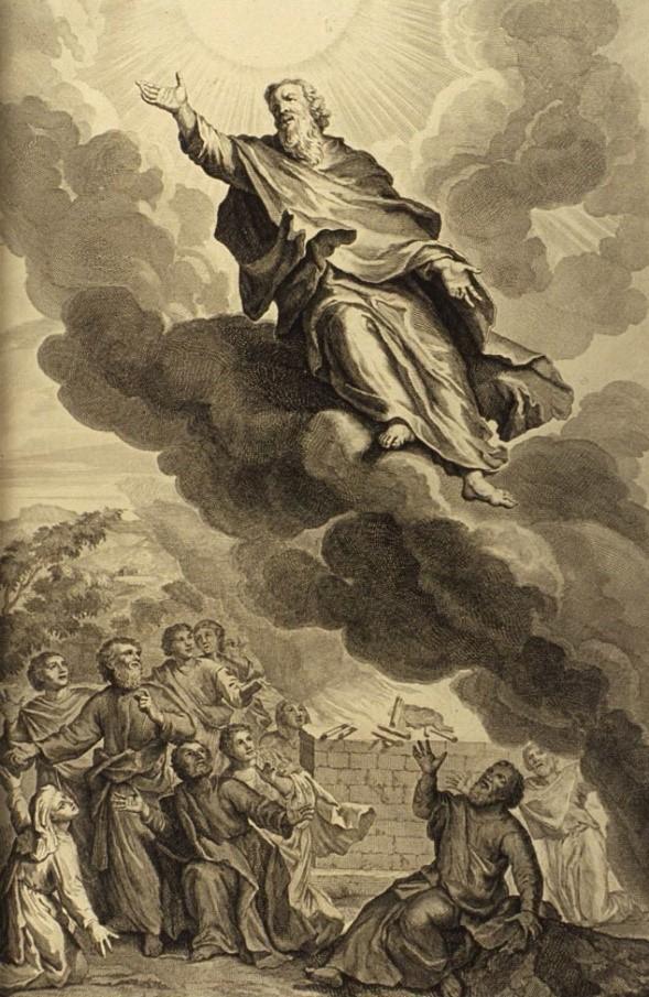 Рисунок 7.8. Бог забирает Еноха на небо. Гравюра Герарда Хута, 1728 г.