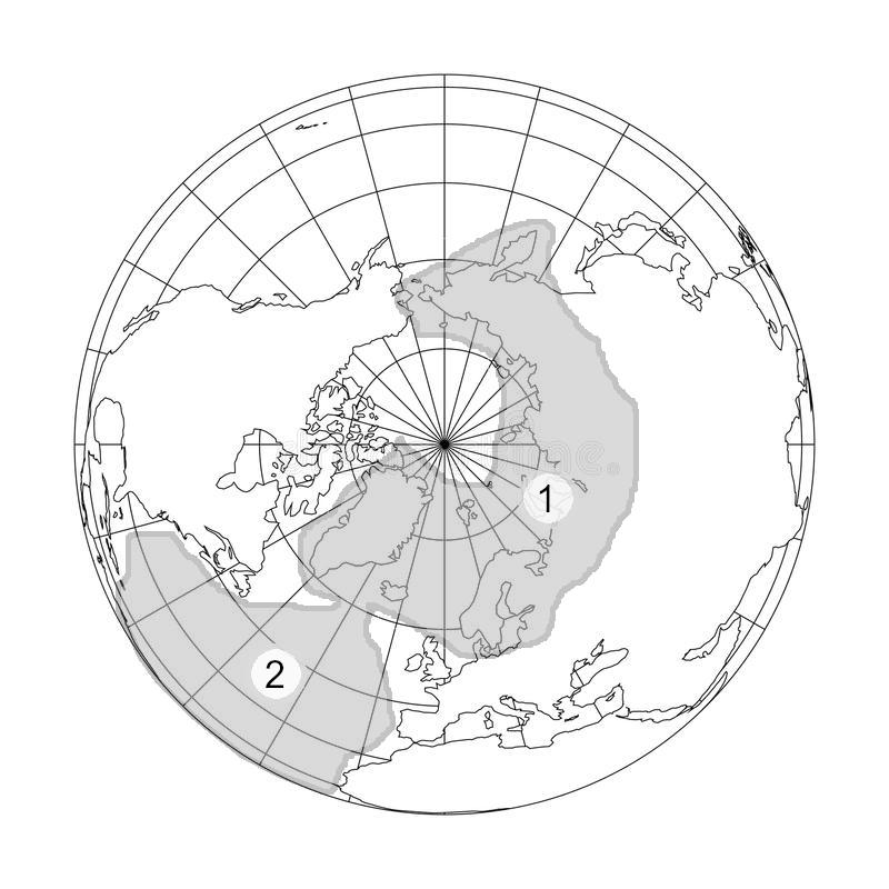 Рисунок 8.1. На рисунке воссозданы приблизительные места расположения следующих объектов: (1) – северного материка, (2) – южной части Атлантиды на месте современного Атлантического океана по описаниям, данным в «Тайной Доктрине». Аналогичный рисунок приводится в статье А.И. Горского «Напоминание потомкам» [27]